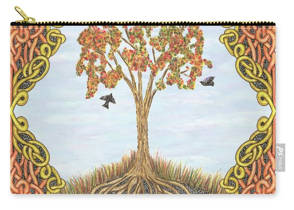 Autumn Tree With Knotted Roots And Knotted Border Carry-all Pouch
