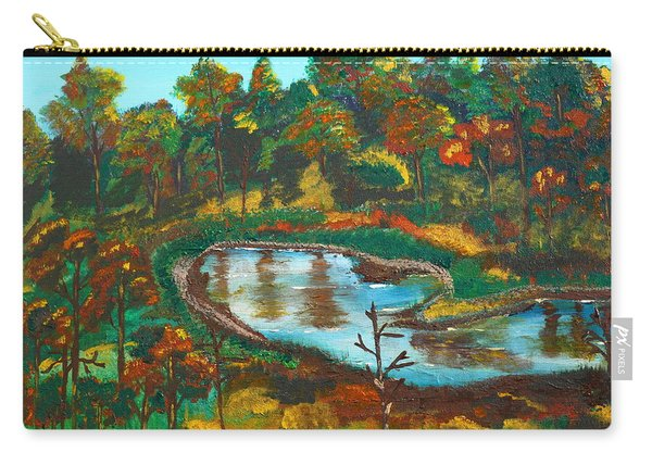 Carry-all Pouch featuring the painting Autumn Trees In Virginia by Jimmy Clark