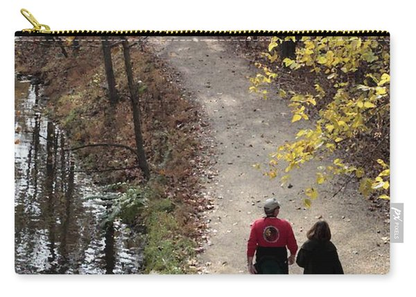 Autumn Walk On The C And O Canal Towpath With Oil Painting Effect Carry-all Pouch