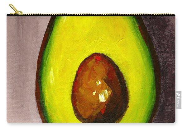 Avocado Modern Art, Kitchen Decor, Grey Background Carry-all Pouch