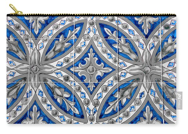 Azulejo - Blue Floral Decoration  Carry-all Pouch