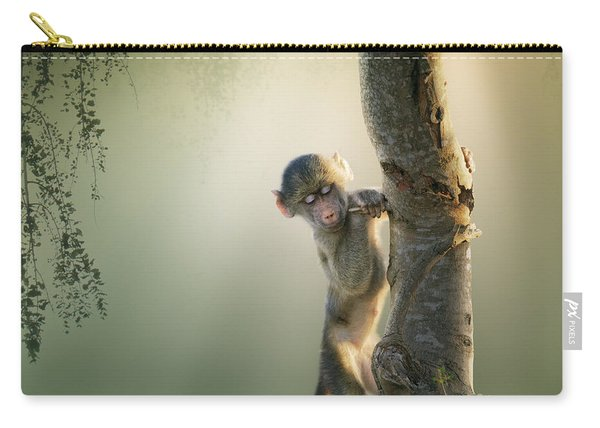 Baby Baboon In Tree Carry-all Pouch