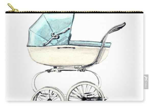 Baby Carriage In Blue - Vintage Pram English Carry-all Pouch