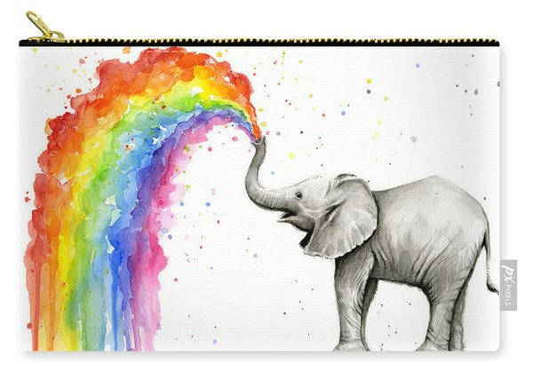 Baby Elephant Spraying Rainbow Carry-all Pouch
