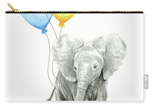Baby Elephant With Baloons Carry-all Pouch