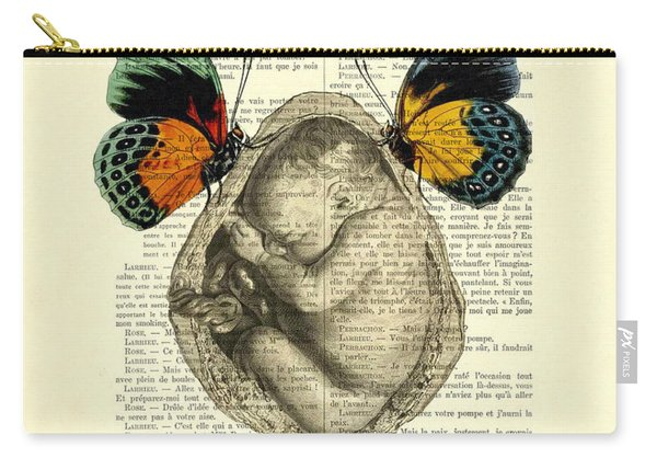 Baby Foetus And Butterflies Carry-all Pouch
