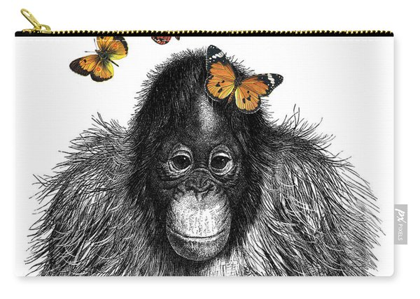 Baby Monkey With Orange Butterflies Carry-all Pouch