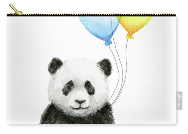 Baby Panda Watercolor With Balloons Carry-all Pouch
