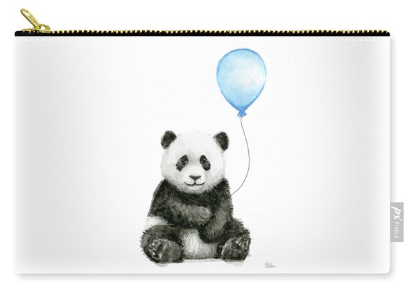 Baby Panda With Blue Balloon Watercolor Carry-all Pouch