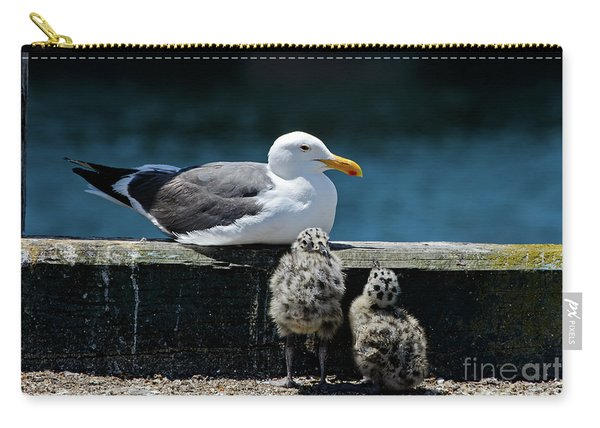 Baby Western Gulls With Mom Carry-all Pouch