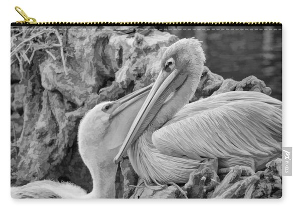 Baby White Pelican Talks To Mother White Pelican Carry-all Pouch