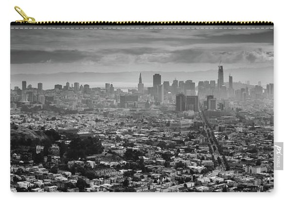 Back And White View Of Downtown San Francisco In A Foggy Day Carry-all Pouch