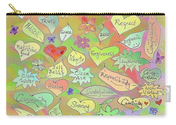Back To The Garden Leaves, Hearts, Flowers, With Words Carry-all Pouch