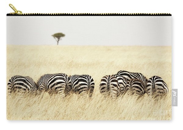 Back View Of Zebras In A Row  Carry-all Pouch