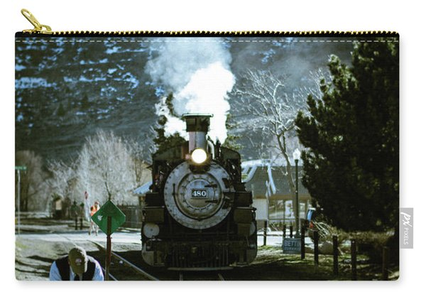 Carry-all Pouch featuring the photograph Backing Into The Station by Jason Coward
