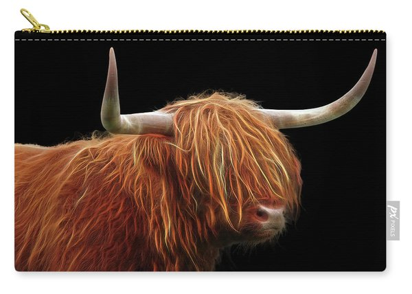 Bad Hair Day - Highland Cow - On Black Carry-all Pouch