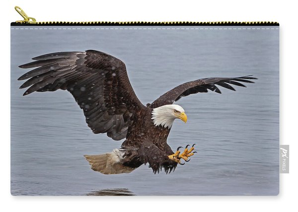 Bald Eagle Diving For Fish In Falling Snow Carry-all Pouch