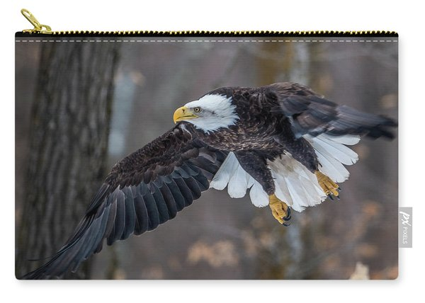 Bald Eagle Flying Thru The Forest Carry-all Pouch
