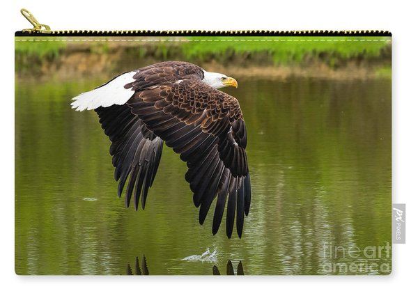 Bald Eagle Over A Pond Carry-all Pouch