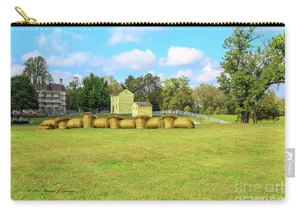 Carry-all Pouch featuring the photograph Baled Hay In A Grassy Field by Richard J Thompson