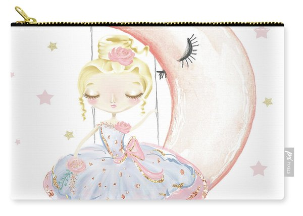 Ballerina Sitting On A Moon Stars Carry-all Pouch