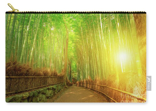 Carry-all Pouch featuring the photograph Bamboo Grove Arashiyama Kyoto by Benny Marty