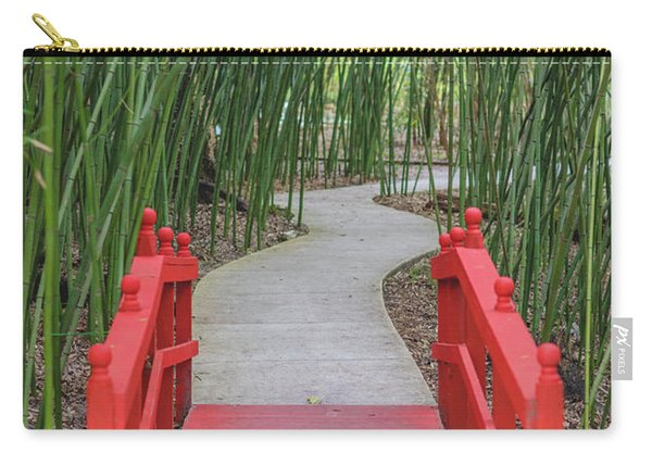 Bamboo Path Through A Red Bridge Carry-all Pouch