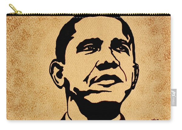 Barack Obama Original Coffee Painting Carry-all Pouch