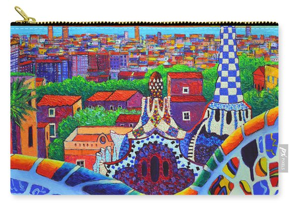 Barcelona Park Guell Sunrise Gaudi Tower Textural Impasto Knife Oil Painting By Ana Maria Edulescu Carry-all Pouch