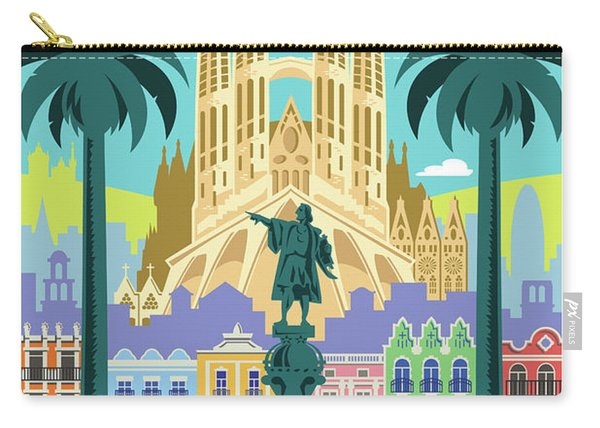 Barcelona Poster - Retro Travel  Carry-all Pouch