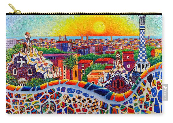 Barcelona Sunrise Colors From Park Guell Modern Impressionism Knife Oil Painting Ana Maria Edulescu Carry-all Pouch