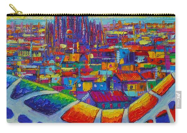 Barcelona View Sagrada From Park Guell Impressionist Abstract City Knife Painting Ana Maria Edulescu Carry-all Pouch