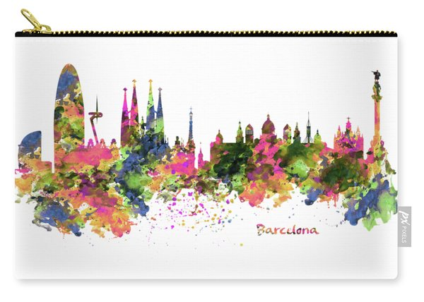 Barcelona Watercolor Skyline Carry-all Pouch