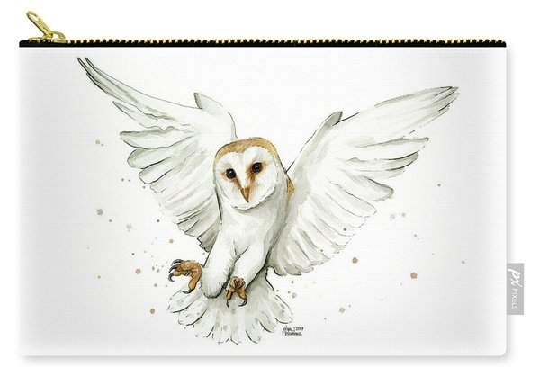 Barn Owl Flying Watercolor Carry-all Pouch
