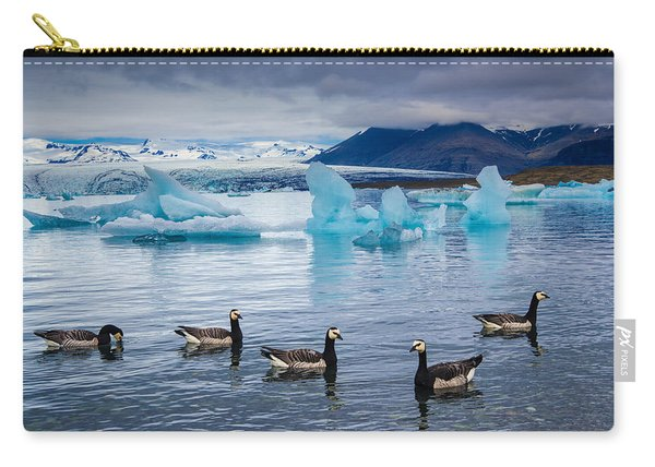 Barnacle Geese In Glacier Lagoon In Iceland Carry-all Pouch