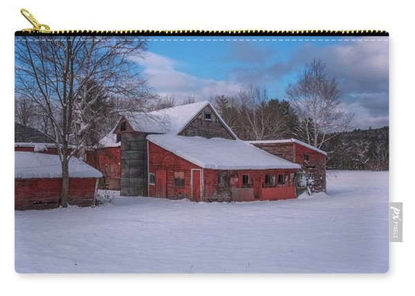 Carry-all Pouch featuring the photograph Barns In Winter by Tom Singleton