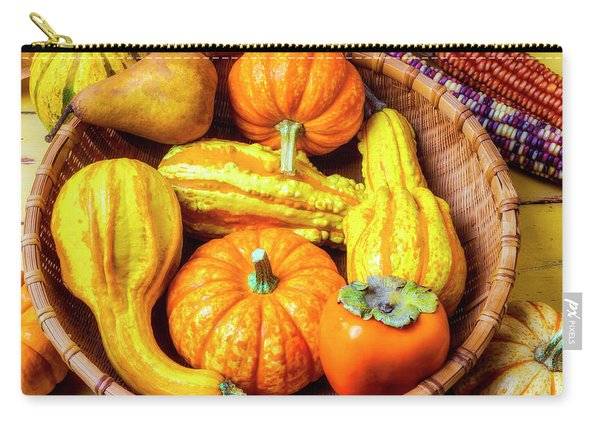 Basket Of Autumn Gourds And Fruits Carry-all Pouch