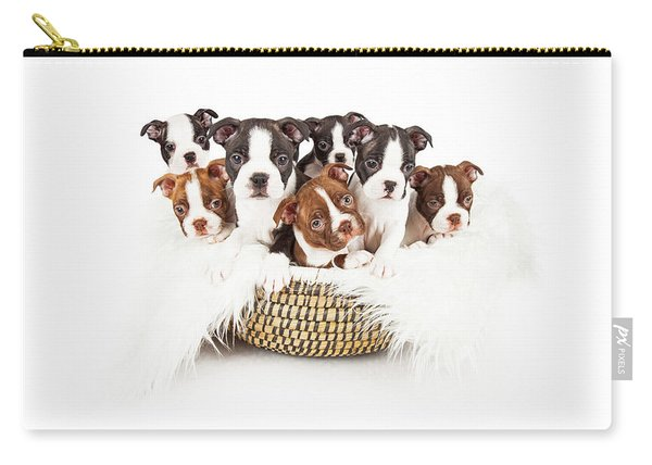 Basket Of Boston Terrier Puppies Carry-all Pouch