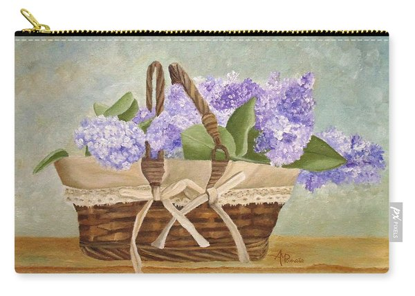 Carry-all Pouch featuring the painting Basket Of Lilacs by Angeles M Pomata