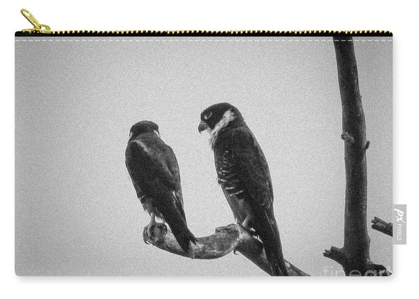 Bat Falcon In Black And White Carry-all Pouch