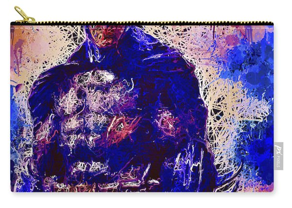 Carry-all Pouch featuring the mixed media Batman by Al Matra