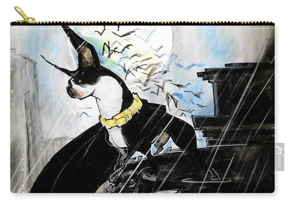Batman Boston Terrier Caricature Art Print Carry-all Pouch