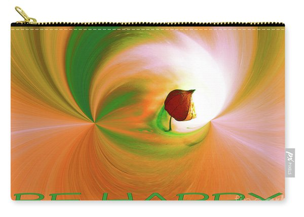 Be Happy, Green-orange With Physalis Carry-all Pouch