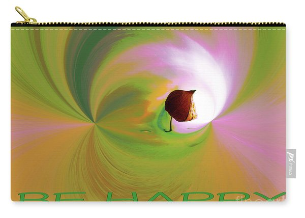 Be Happy, Green-pink With Physalis Carry-all Pouch