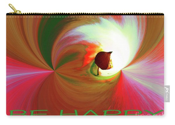 Be Happy, Red-rose With Physalis Carry-all Pouch