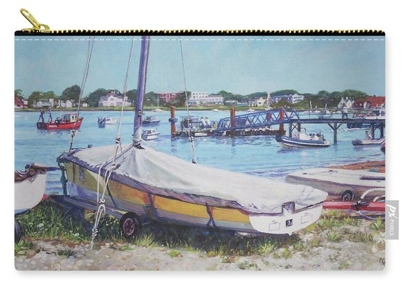 Carry-all Pouch featuring the painting Beach Boat Under Cover by Martin Davey