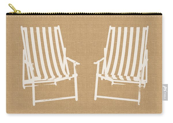 Beach Chairs On Burlap- Art By Linda Woods Carry-all Pouch
