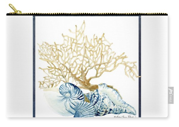Beach House Nautilus Scallop N Conch With Tan Fan Coral Carry-all Pouch