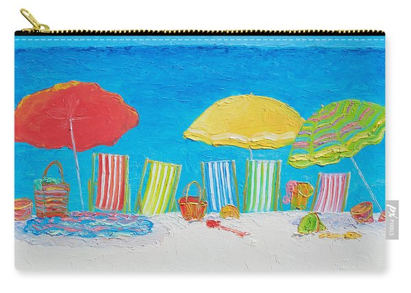Beach Painting - Deck Chairs Carry-all Pouch