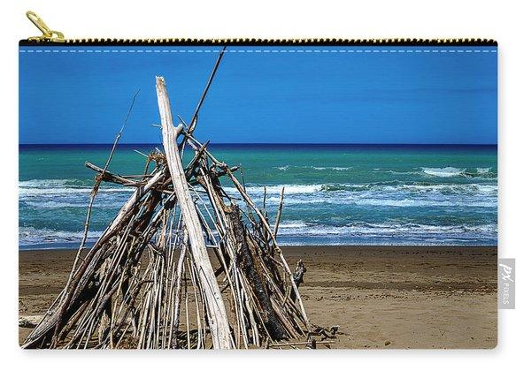 Beach With Wooden Tent - Spiaggia Con Tenda Di Legno Carry-all Pouch